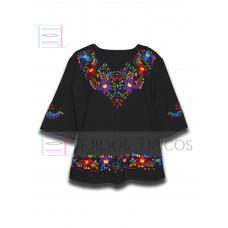 Blouse Colorín made of Cotton Color Black, Size Medium