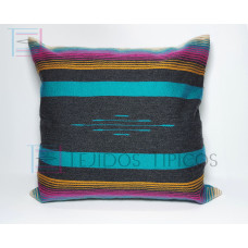 Fine Cotton Cushion Cover Gray and Emerald Background