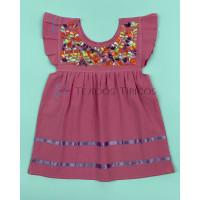 Julia model girl's embroidered dress, Light Pink Color, Size 1.