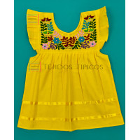 Julia model girl's embroidered dress, Color Yellow, Size 1.
