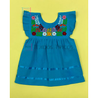 Girl's Embroidered Dress Julia model, Color Turquoise Blue, Size 1