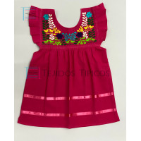Girl's Embroidered Dress Julia model, Color Pink Fiusha, Size 1.