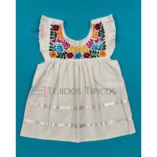 Julia model girl's embroidered dress, Natural Color, Size 1.