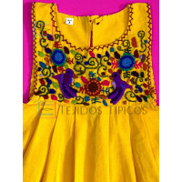Lucila model girl's embroidered dress, yellow, size 4.