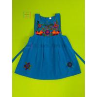 Lucila model girl's embroidered dress, blue, size 4