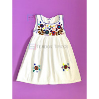 Lucila model girl's embroidered dress, white, size 4.