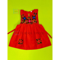 Lucila model girl's embroidered dress, orange, size 2
