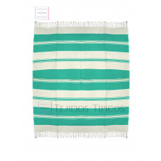 Natural and Water Green Cotton Tablecloth 1.50 x 1.50 mts
