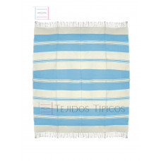 Natural and Sky Blue Cotton Tablecloth 1.50 x 1.50 mts
