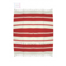 Natural and Red Cotton Tablecloth 1.50 x 1.50 mts