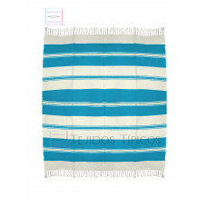 Natural and Turquoise Cotton Tablecloth 1.50 x 1.50 meters