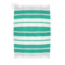Natural and Water Green Cotton Tablecloth 1.50 x 2.00 meters