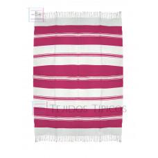 Natural and Pink Cotton Tablecloth 1.50 x 2.00 meters