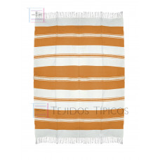 Natural and Orange Cotton Tablecloth 1.50 x 2.00 meters