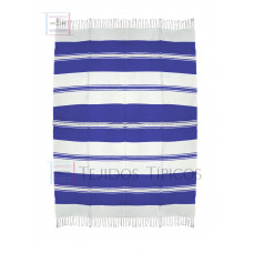 Natural and Blue King Cotton Tablecloth 1.50 x 2.00 mts