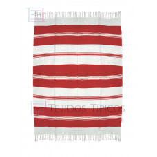 Natural and Red Cotton Tablecloth 1.50 x 2.00 mts