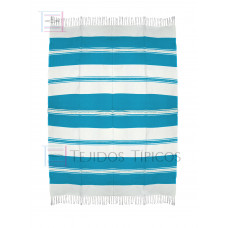 Natural and Turquoise Cotton Tablecloth 1.50 x 2.00 meters