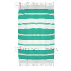 Natural and Water Green  Cotton Tablecloth 1.50 x 2.50 mts
