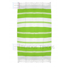 Natural and Lemon Green Cotton Tablecloth 1.50 x 2.50 mts