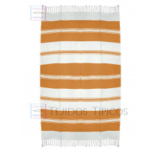 Natural and Orange Cotton Tablecloth 1.50 x 2.50 mts