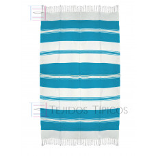 Natural and Turquoise Cotton Tablecloth 1.50 x 2.50 mts