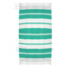 Natural and Water Green Cotton Tablecloth 1.50 x 3.00 mts