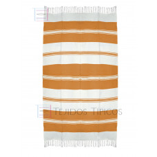 Natural and Orange Cotton Tablecloth 1.50 x 3.00 mts