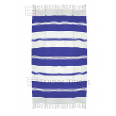 Natural and Blue King Cotton Tablecloth 1.50 x 3.00 mts