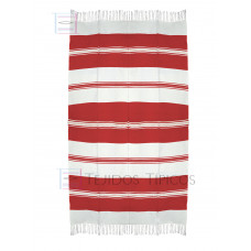 Natural and Red Cotton Tablecloth 1.50 x 3.00 mts