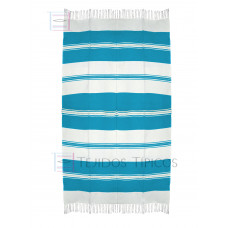 Natural and Turquoise Cotton Tablecloth 1.50 x 3.00 mts