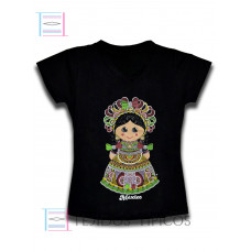 Lady`s T-shirt Neck V Velvet Doll Medium Size ( M )