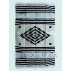 Blanket of cotton Diamond Design Bone Background Natural Shadow In Black and Beige 1.65 x 2.50 m