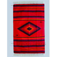 Blanket of cotton design of Diamond Red Background Red Natural Shadow 1.65 x 2.50 m