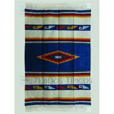 Blanket of cotton design of diamond/greca color Petroleum with natural 1.65 x 2.50 m