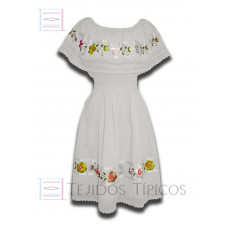 Nayelly Dress made of Cotton with Billowy Hand embroidery Color White,One size