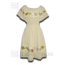 Nayelly Dress made of Cotton with Billowy Hand embroidery Color Blanket,One size