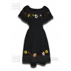 Nayelly Dress made of Cotton with Billowy Hand embroidery Color Black,One size