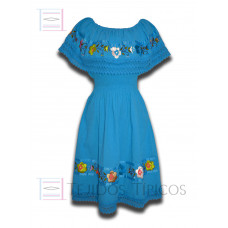 Nayelly Dress made of Cotton with Billowy Hand embroidery Color Turquoise,One size