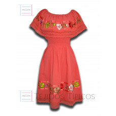 Nayelly Dress made of Cotton with Billowy Hand embroidery Color Salmon,One size
