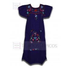Multicolor Embroidered Dress Navy blue, standard size