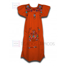 Tehuacan Embroidered Dress made of Poplin with Multicolor Embroidery Color Orange,Standard
