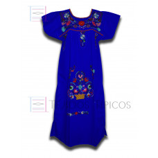Tehuacan Embroidered Dress made of Poplin with Multicolor Embroidery Color Blue,Standard