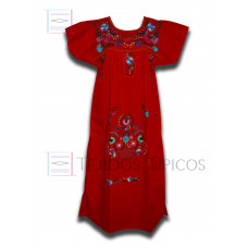 Red Multicolor Embroidered Dress, standard size,