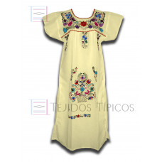 Multicolor Embroidered Dress Natural color, standard size