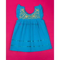 Julia Model Girl Embroidered Dress, Turquoise Blue Color, Size 2