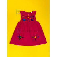 Lucila model girl's embroidered dress, Color Pink Fiusha, Size 1.