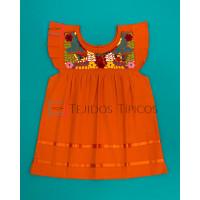 Girl's Embroidered Dress Julia Model, Color Orange, Size 2
