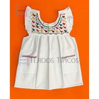 Girl's Embroidered Dress Julia Pollito Model, White, Size 2