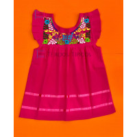 Girl's Embroidered Dress Julia Model, Color Pink Fiusha, Size 2